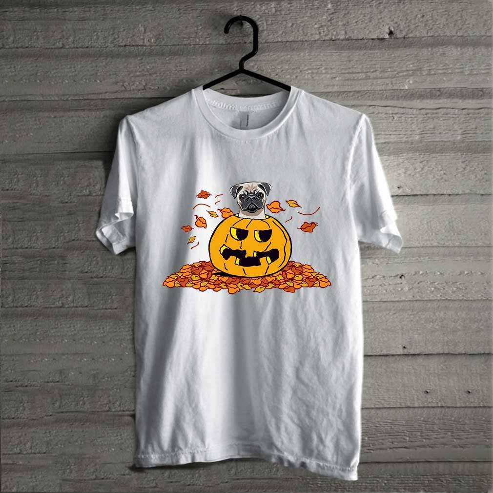 Pumpkin with baby pug funny Halloween shirt