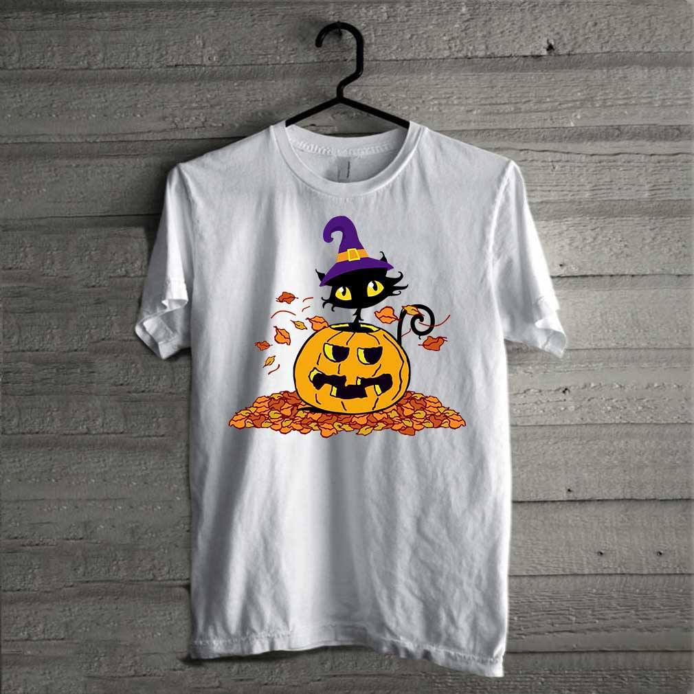 Pumpkin with black cat funny Halloween shirt