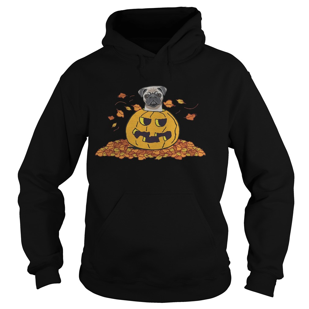 Pumpkin with baby pug funny Halloween Hoodie