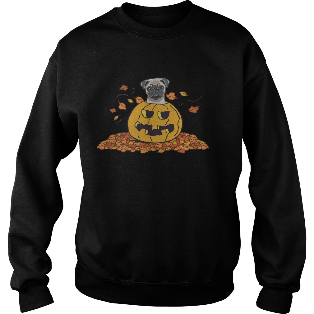 Pumpkin with baby pug funny Halloween Sweater