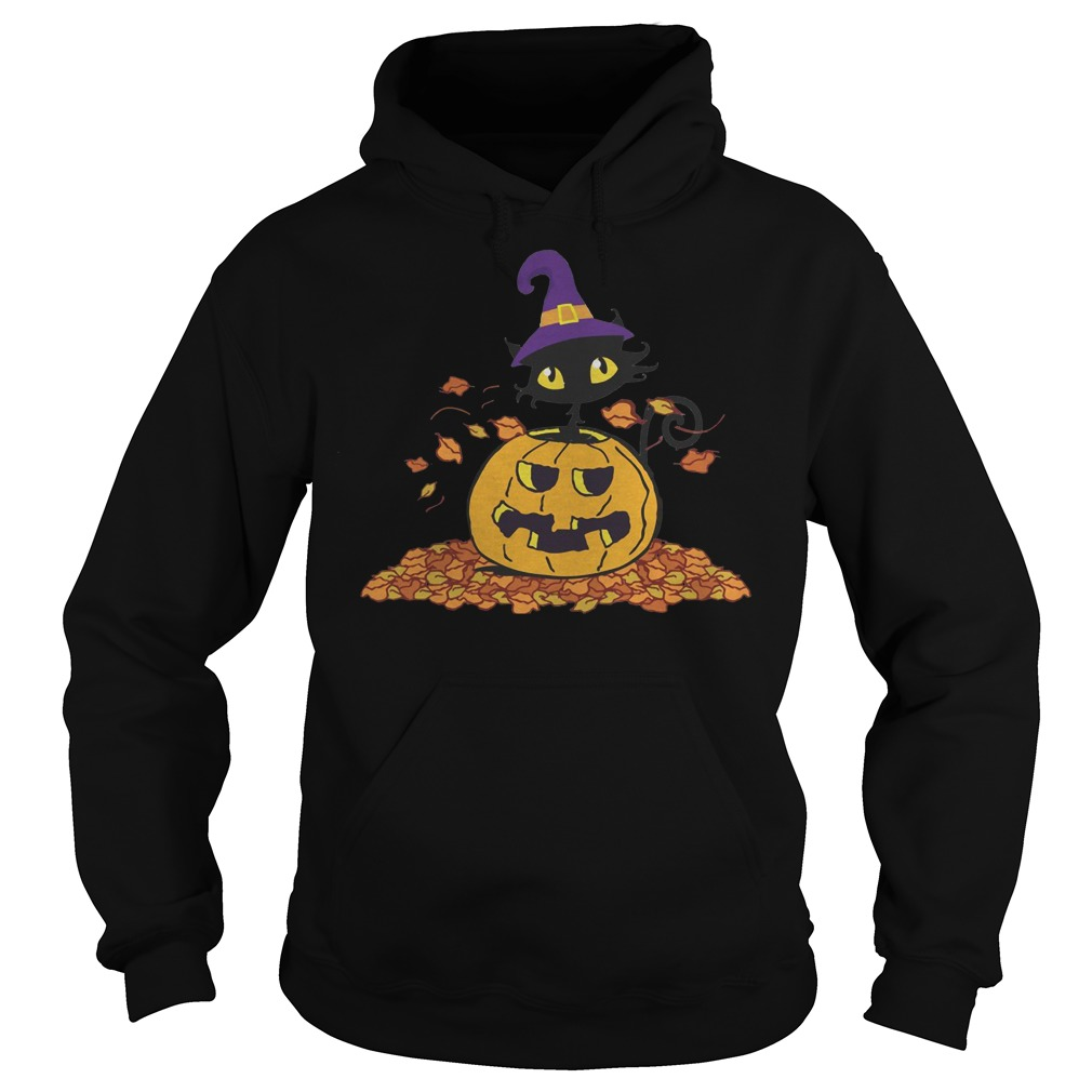 Pumpkin with black cat funny Halloween Pumpkin with black cat funny Halloween Hoodie