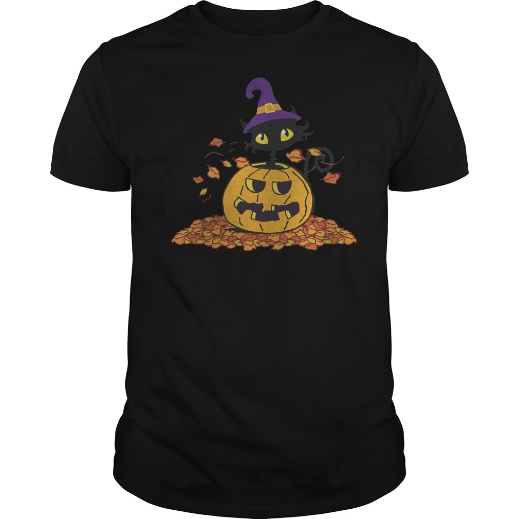 Pumpkin with black cat funny Halloween Guys t-shirt