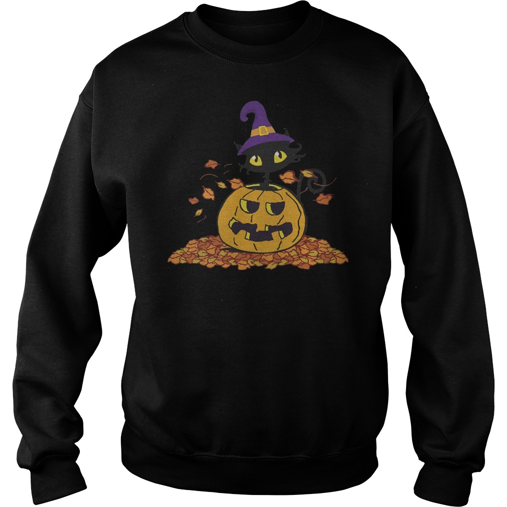 Pumpkin with black cat funny Halloween Sweater