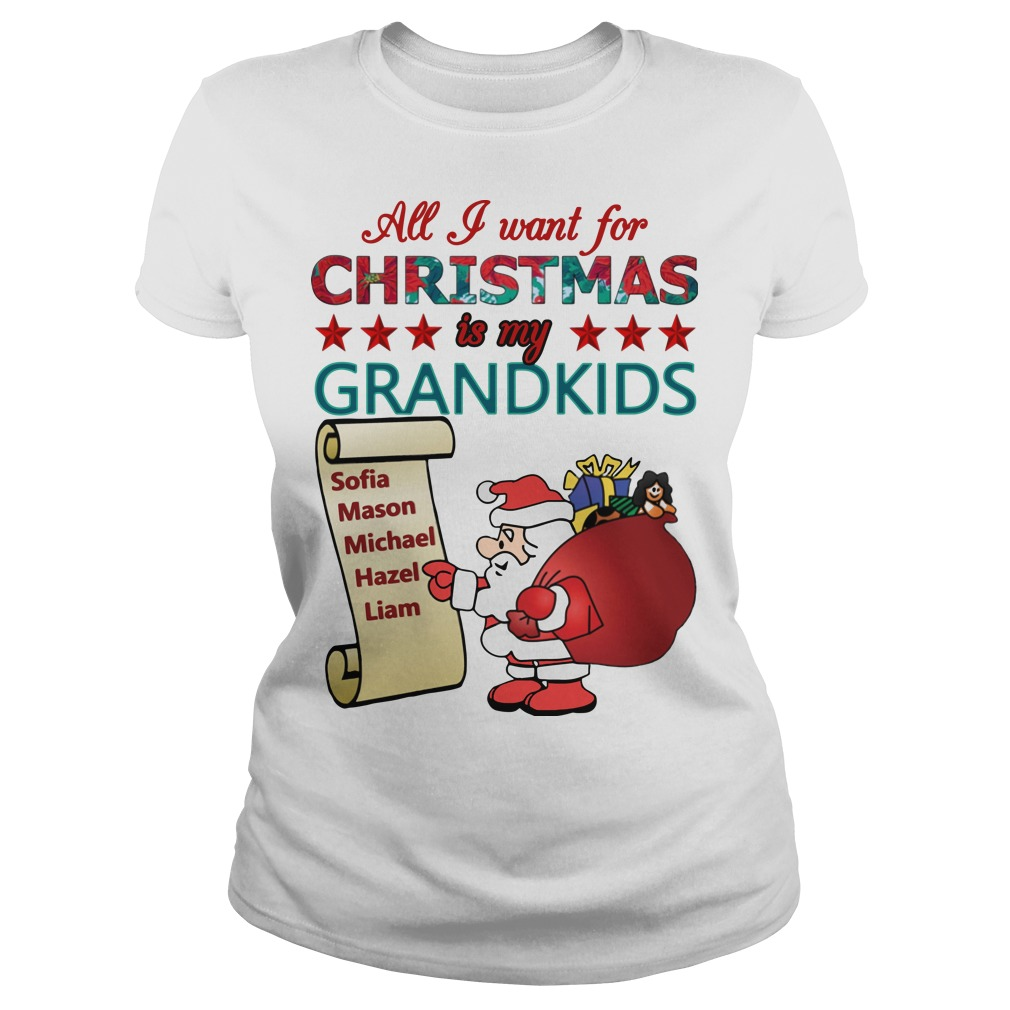 All I want for christmas is my grandkids Ladies t-shirt