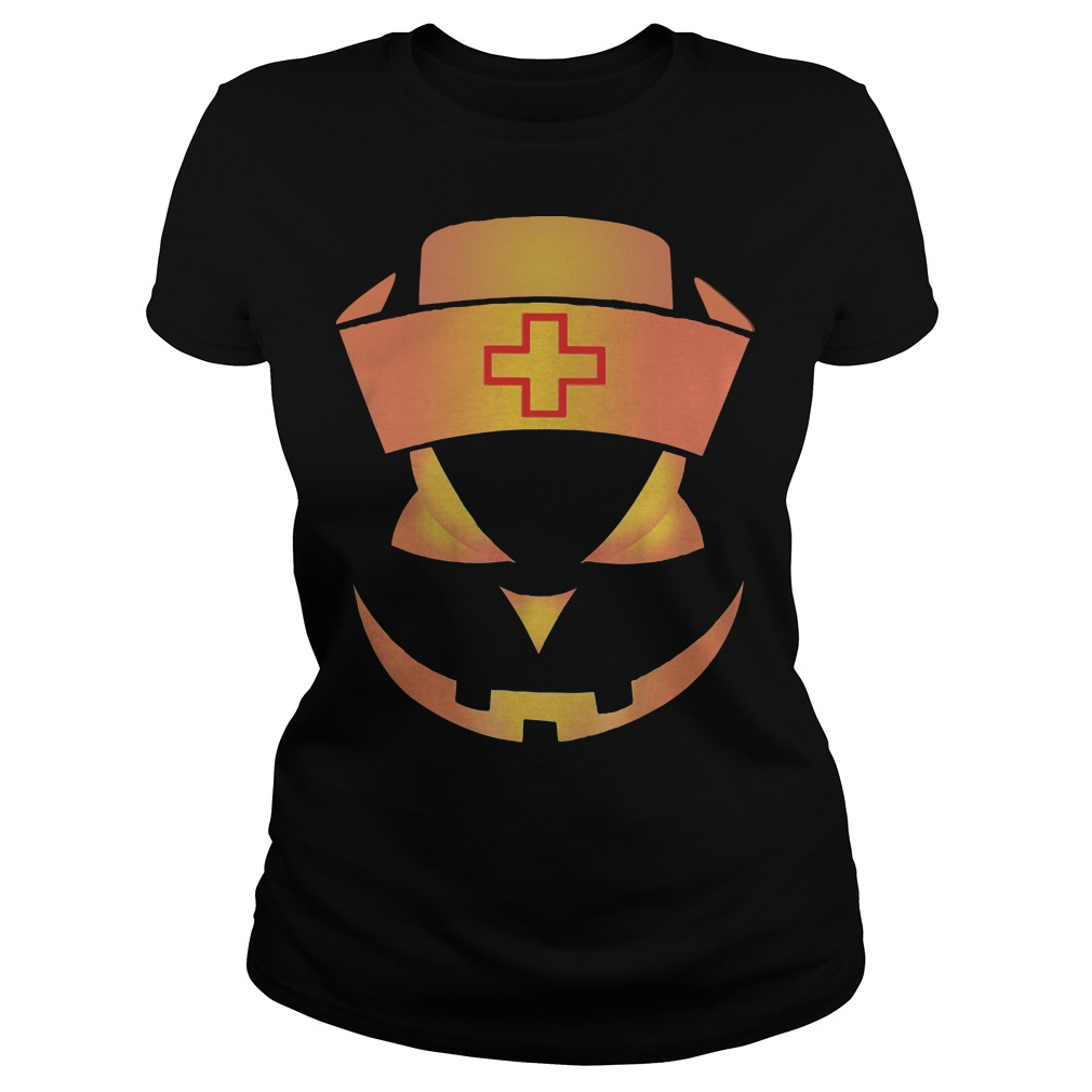 Nurse Halloween pumpkin face Ladies t-shirt