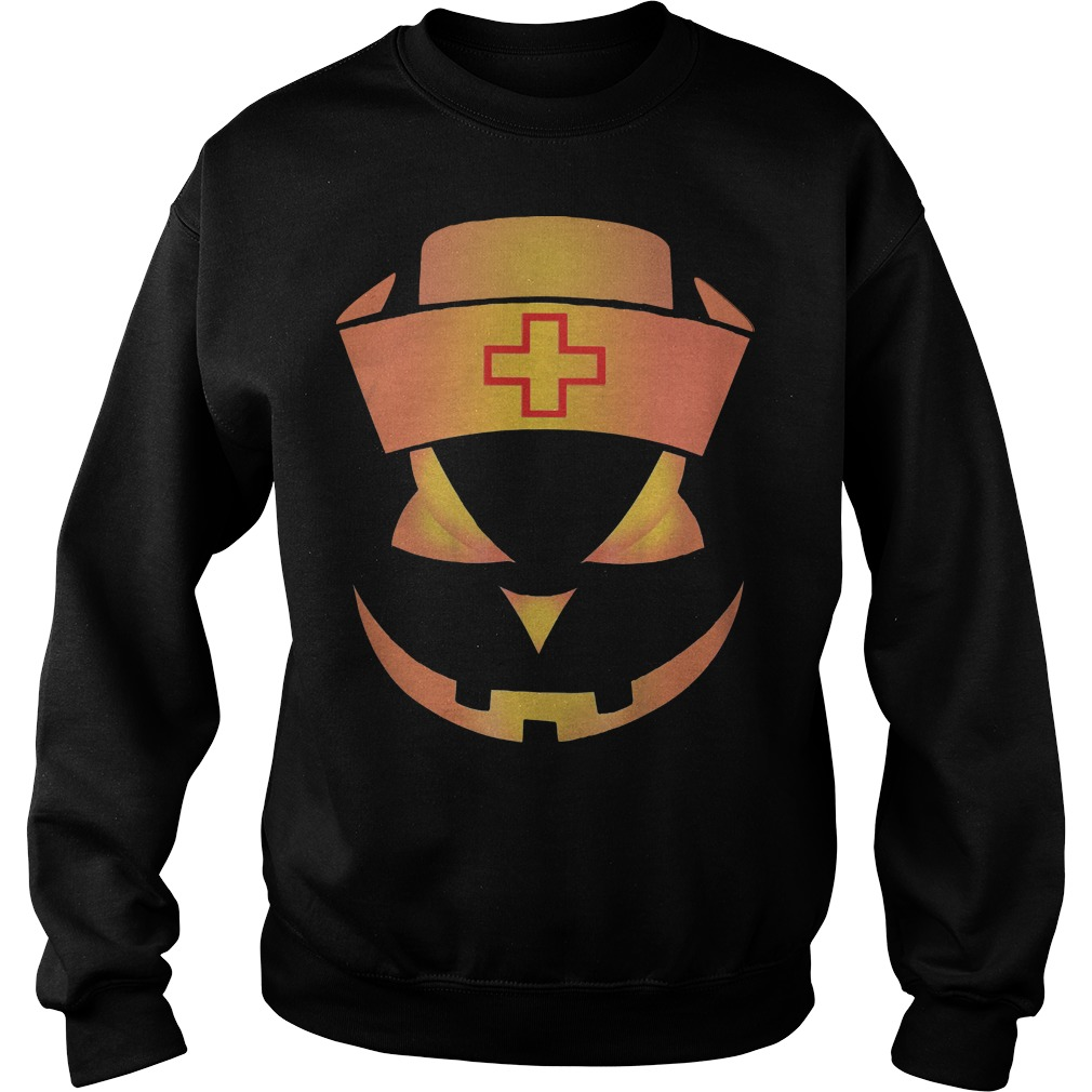 Nurse Halloween pumpkin face Sweater