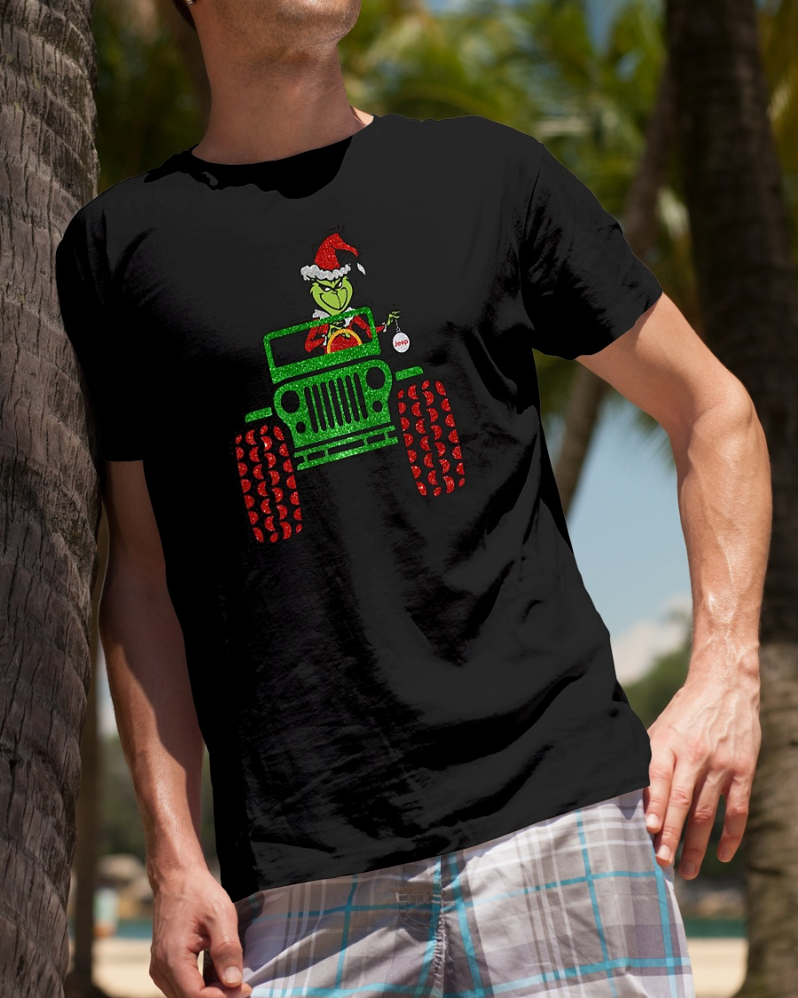 Grinch driving jeep Merry Christmas shirt