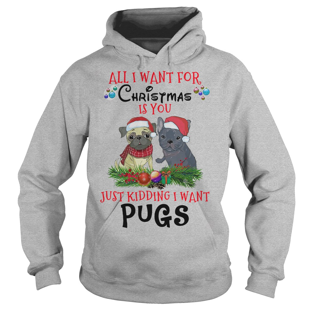 All I want for Christmas is you just kidding I want pugs Hoodie