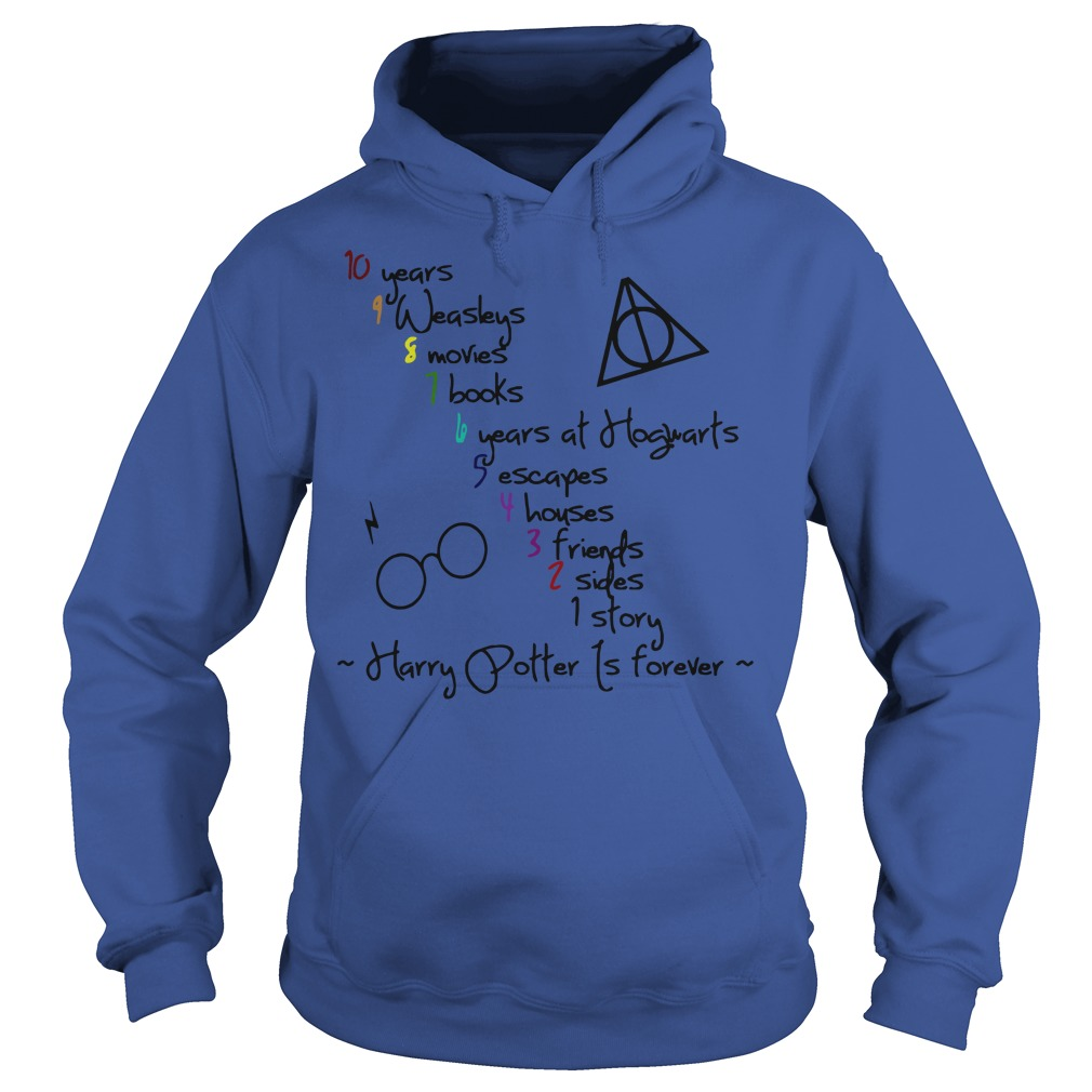 10 Years 9 Weasleys 8 Movies 7 Books 6 Years at Hogwarts 5 Escapes 4 Houses 3 Friends 2 Sides 1 Story Harry Potter Hoodie