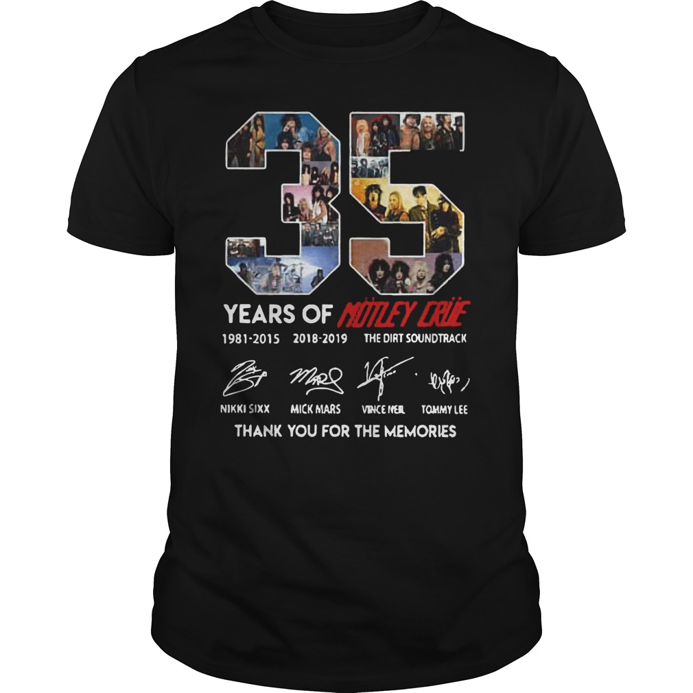 35 years of Motley Crue thank you for the memories Guys t-shirt