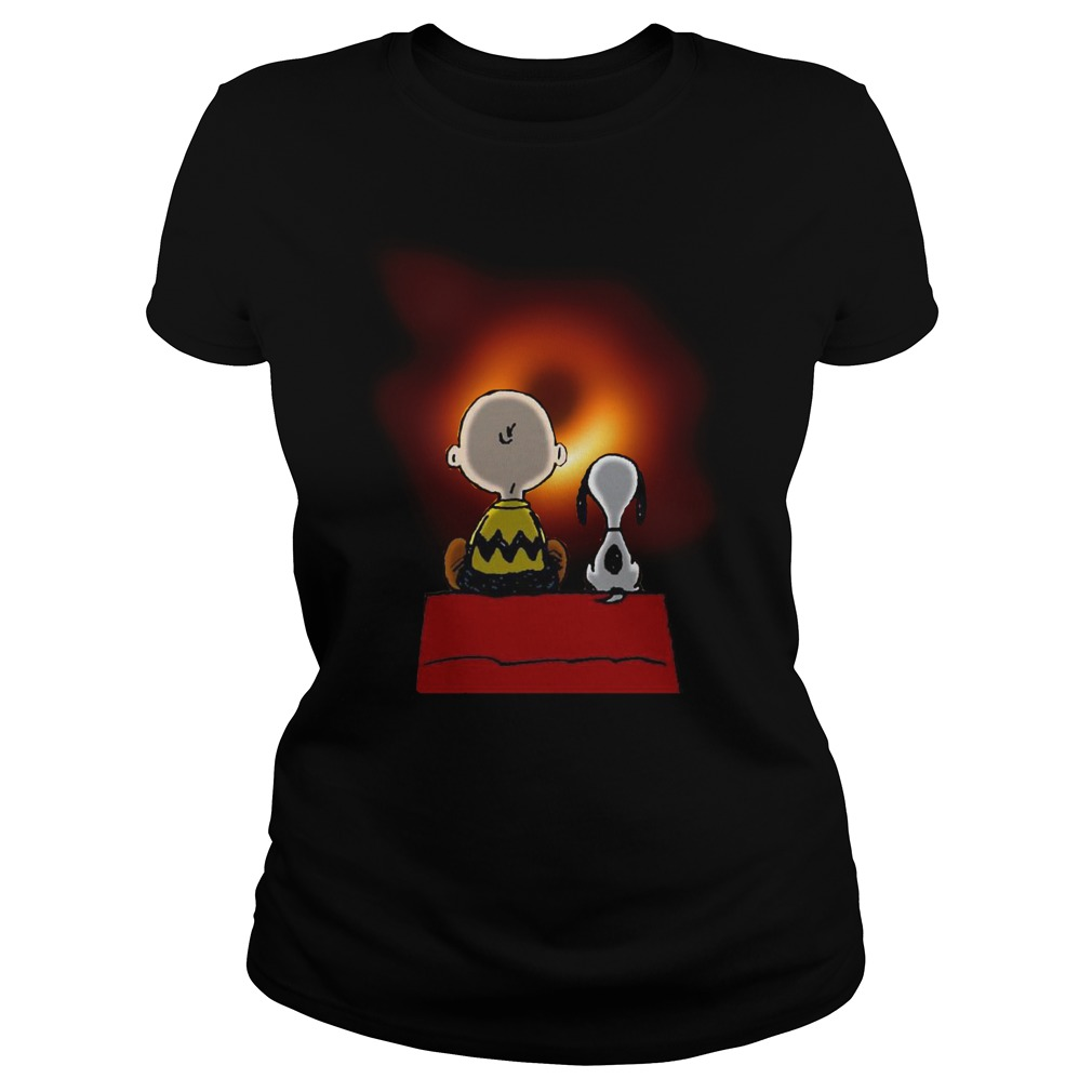 Peanuts Charlie Brown and Snoopy watching Black hole Ladies t-shirt