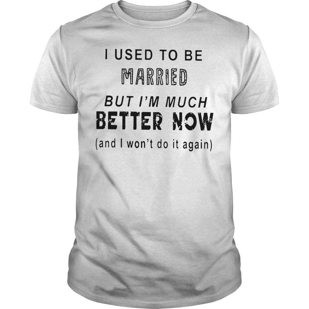 I used to be married but I'm much better now and I won't do it again Guys t-shirt