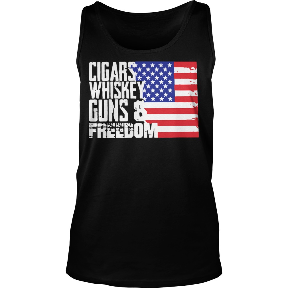 American flag Cigars whisky guns and freedom Tank top
