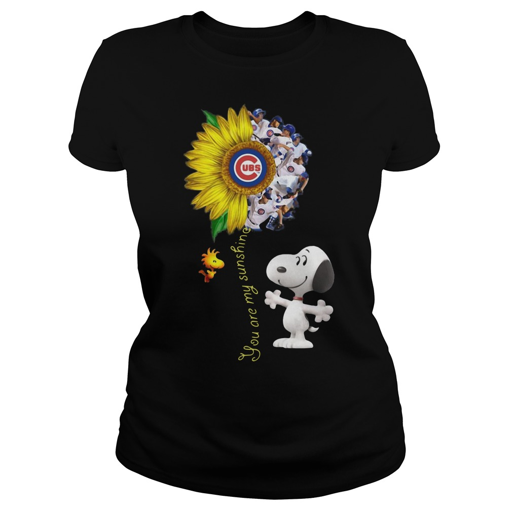 Snoopy and Woodstock you are my sunshine Chicago cubs sunflower Ladies t-shirt