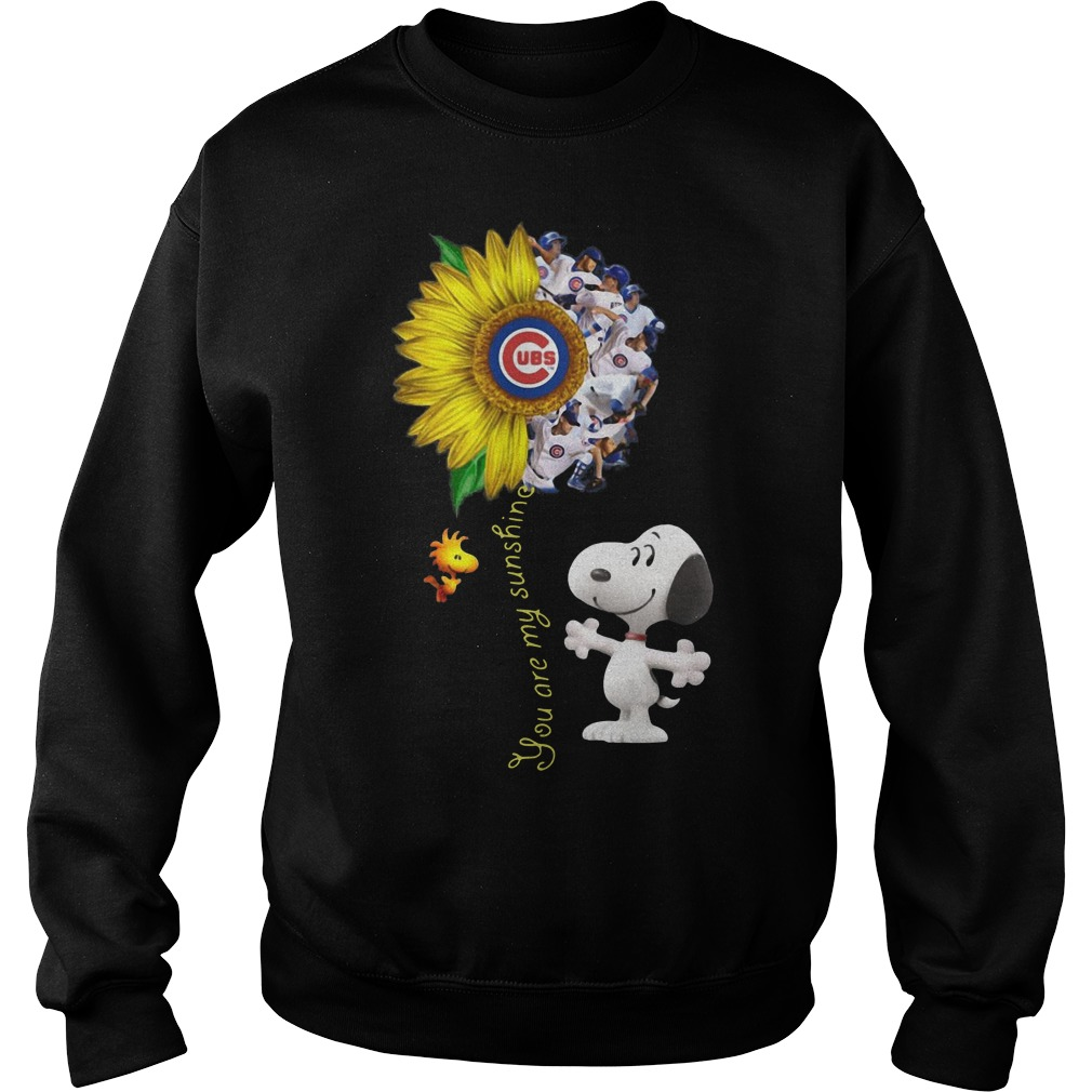 Snoopy and Woodstock you are my sunshine Chicago cubs sunflower Sweater