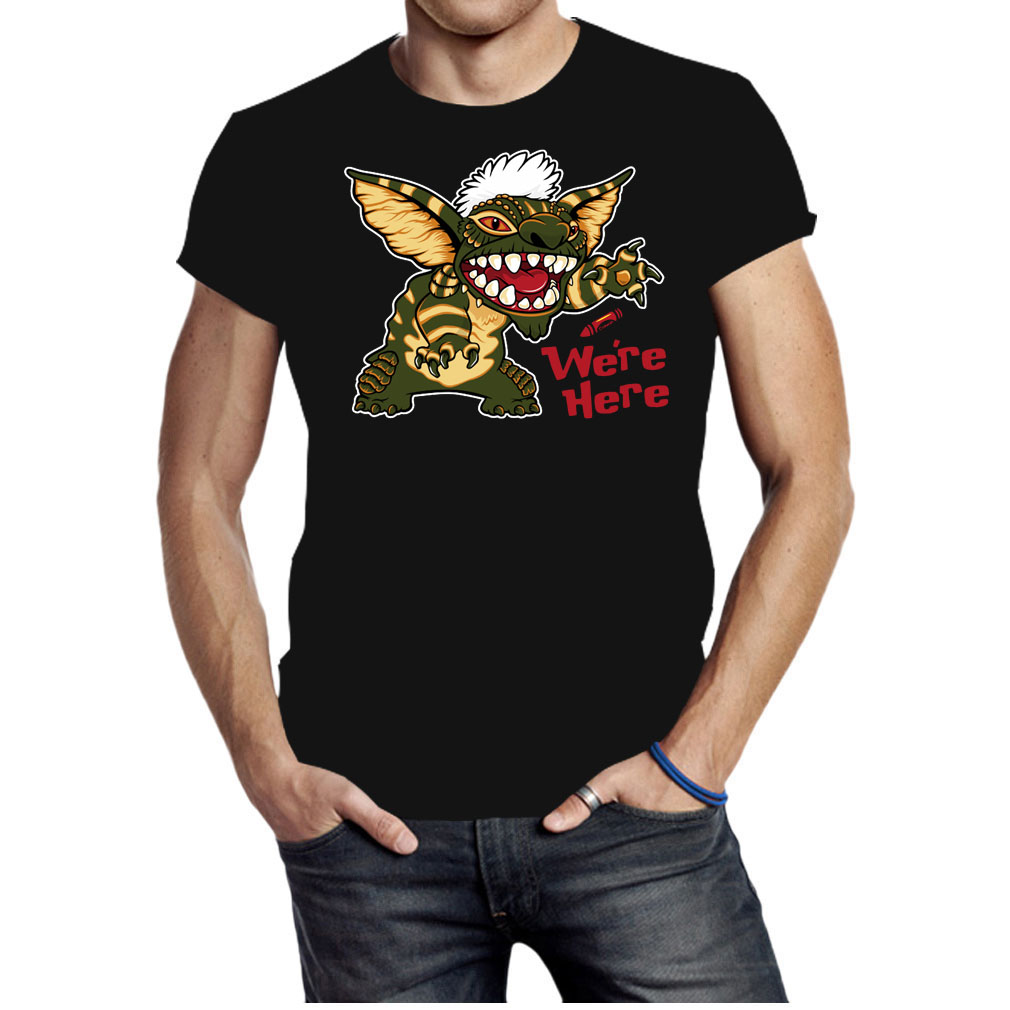 We're here mogwai stitch gremlins stripe 80's shirt