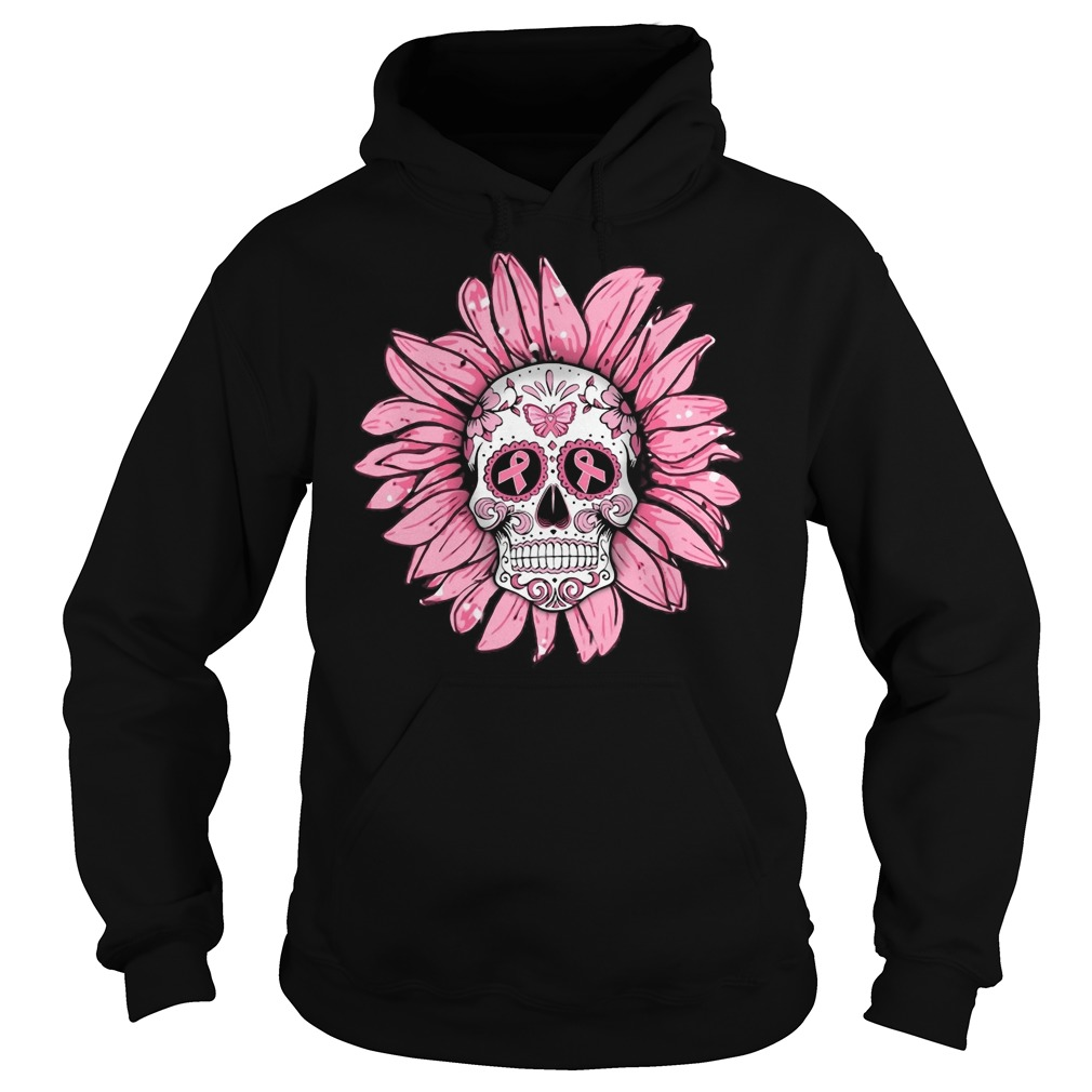 Breast cancer sugar skull sunflower Hoodie