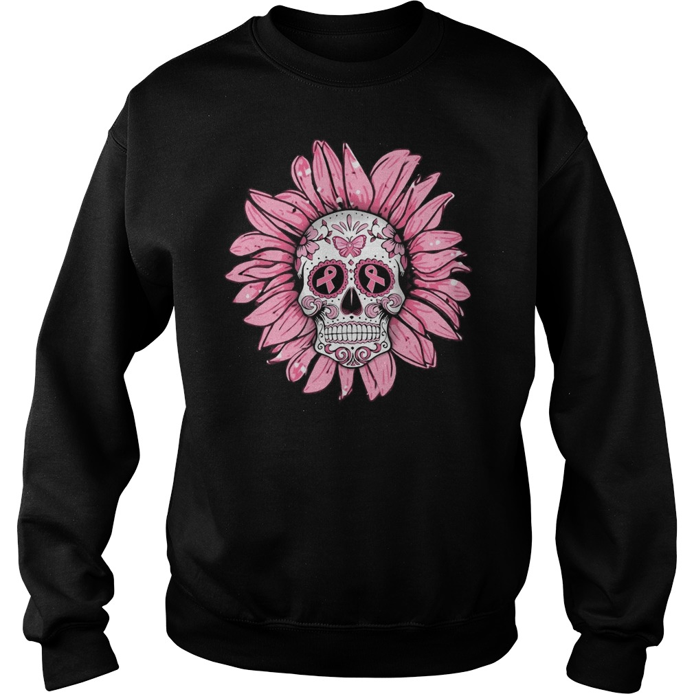 Breast cancer sugar skull sunflower Sweater