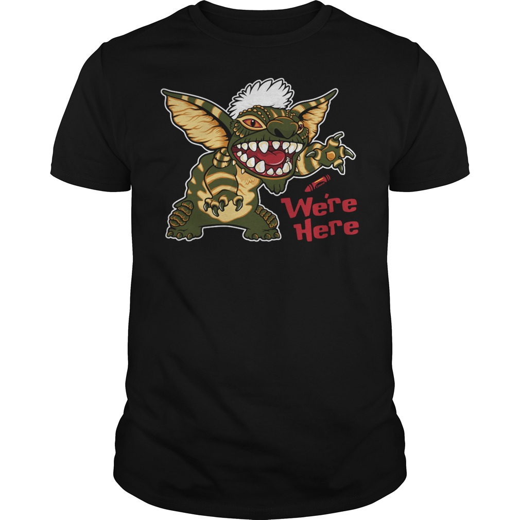 We're here mogwai stitch gremlins stripe 80's Guys t-shirt