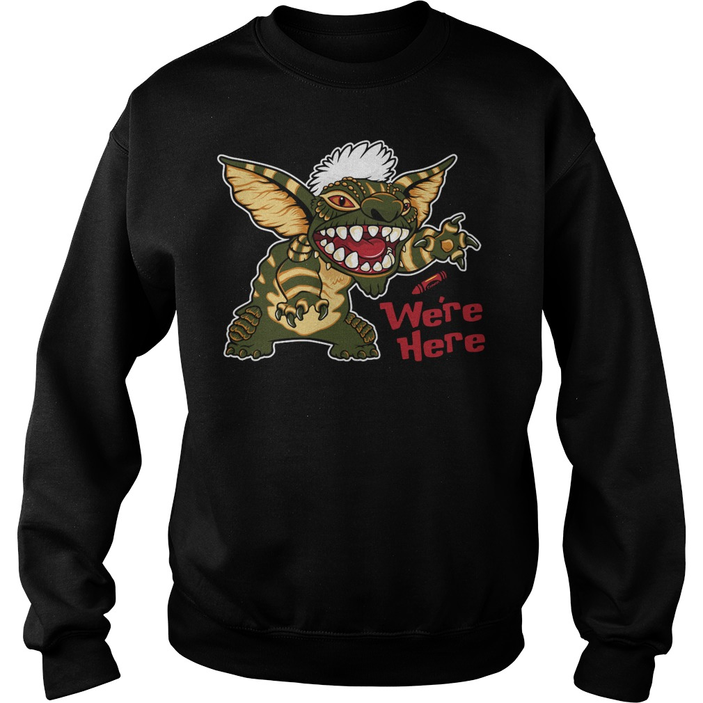 We're here mogwai stitch gremlins stripe 80's Sweater
