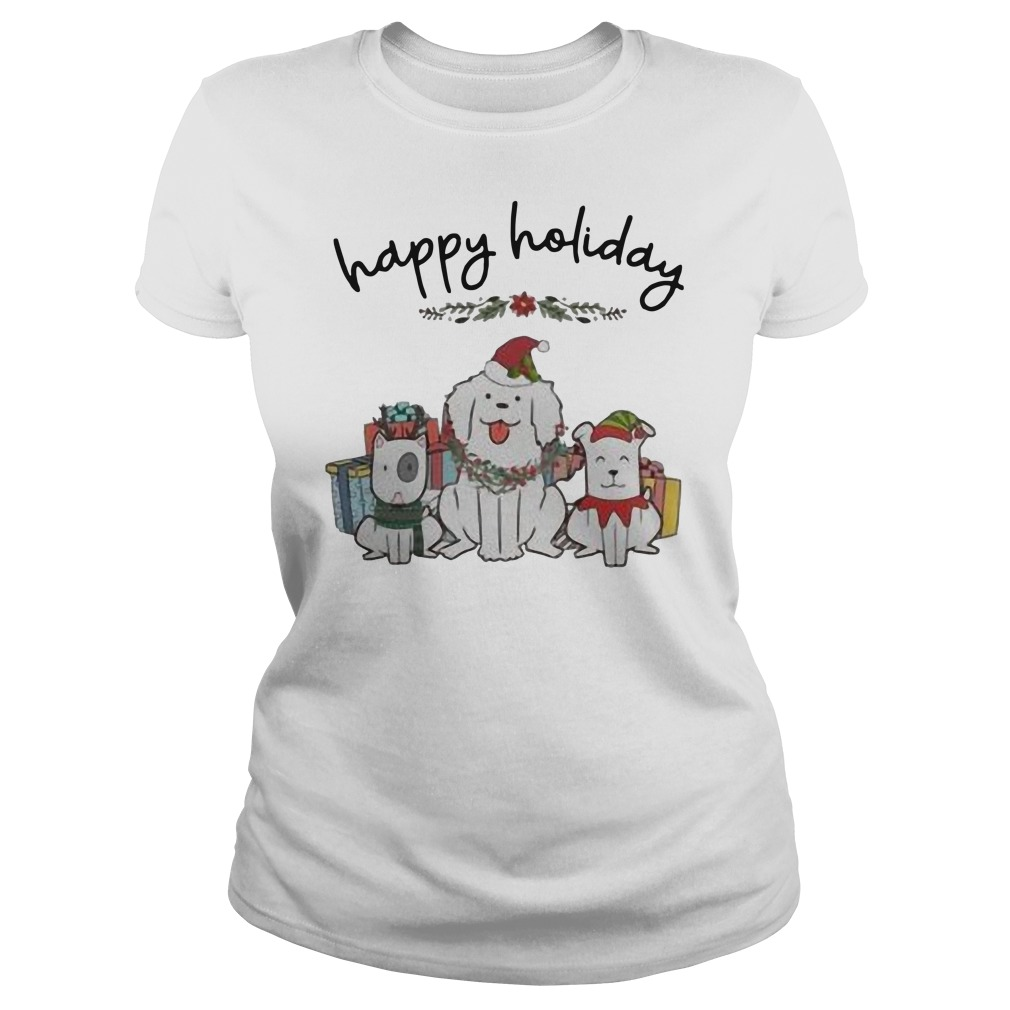 Dogs happy Holiday Christmas Ladies t-shirt