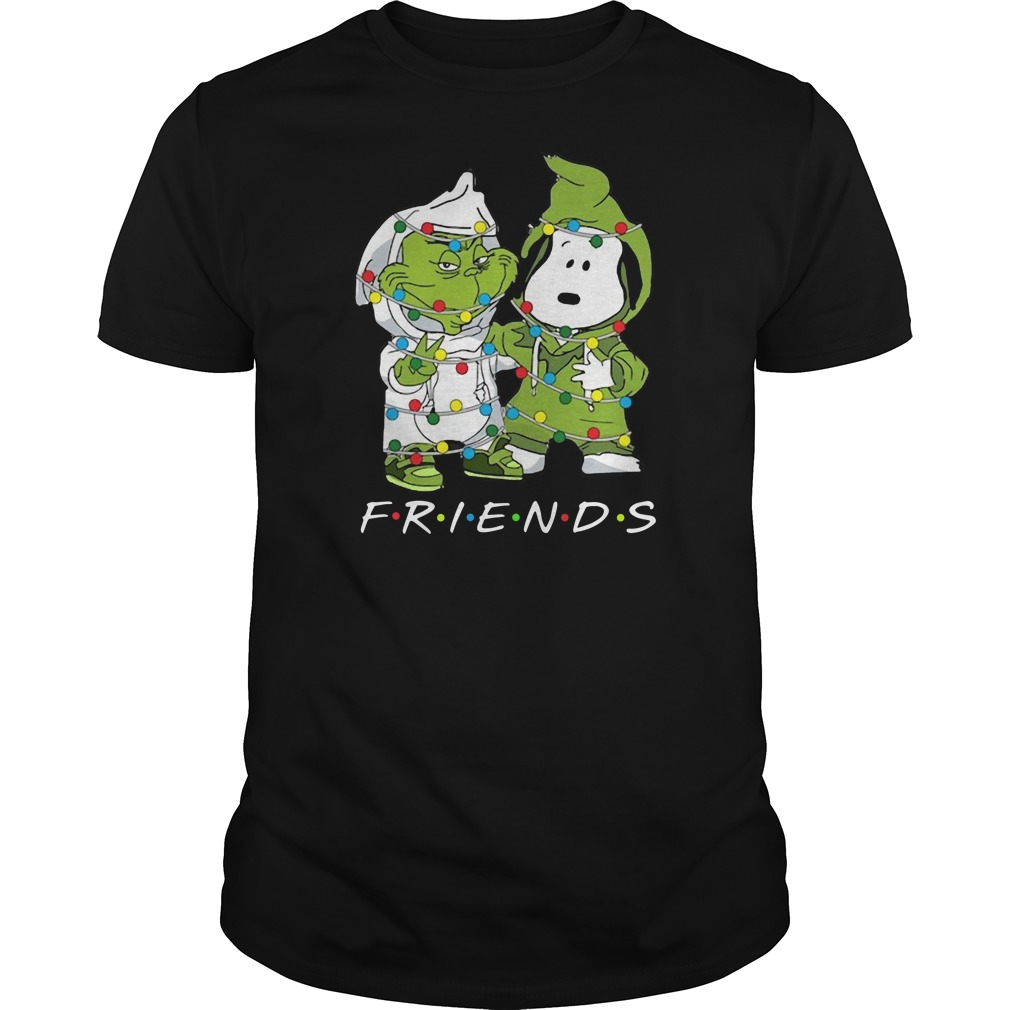 Friends Grinch and Snoopy light Christma Guys t-shirt
