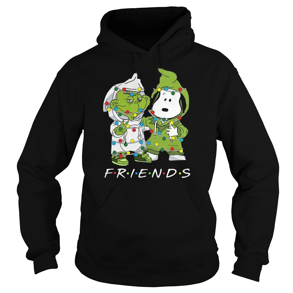 Friends Grinch and Snoopy light Christma Hoodie