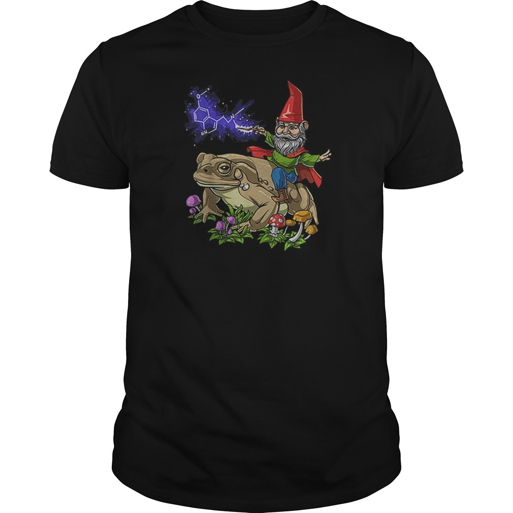 Gnome riding bufo alvarius toad chemistry witch Christmas Guy t-shirt