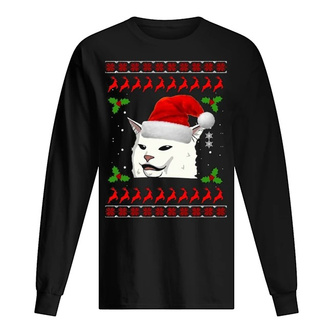 Smudge the Cat meme Ugly Christmas Long sleeve