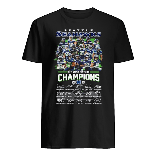 Seattle seahawks NFC West division Champions signatures Guys t-shirt