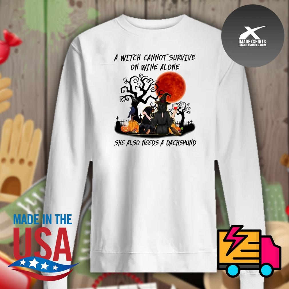 A witch cannot survive on wine alone she also needs a Dachshund Halloween s Sweater