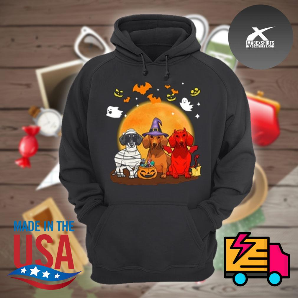 Three Dachshund pumpkin moon Halloween s Hoodie