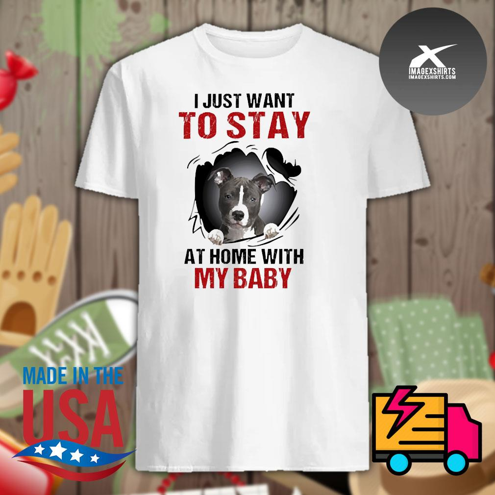 Blood inside me Pitbull I just want to stay at home with my baby shirt
